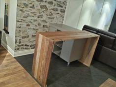Comptoir-bar en bois de grange.  Conception et fabrication Rustik Restauration Ancestrale.
