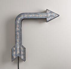 "Vintage Illuminated Arrow | 179.00 | Restoration Hardware Baby & Child | 23"" x 25"" x 4.5"" | item# 102733 WMTL."