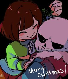 Undertale || Chara and Sans || Christmas || Under the mistletoe