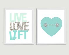 Crossfit Weightlifting or Fitness Gifts under $20 Live Love Lift Inspirational Fitness Art  Set by StephLawsonDesign