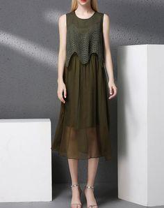 #AdoreWe #VIPme Swing Dresses - YI PIN WAN Army Green Linen Sleeveless Hollow Out Midi Dress - AdoreWe.com