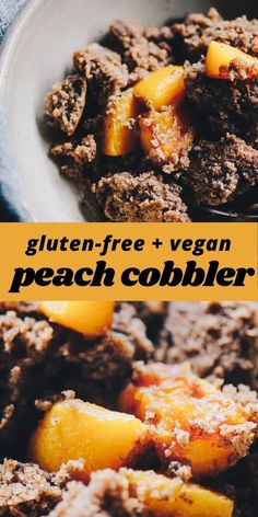 This easy and healthy gluten-free peach cobbler recipe is made with a blend of buckwheat and tapioca flours for a lovely flavor and texture that greatly complements juicy peaches for a heart-warming breakfast, brunch, or dessert! Refined sugar-free with a dairy-free   vegan option!  #glutenfreepeachcobbler | #veganpeachcobbler Easy Gluten Free Desserts, Gluten Free Cakes, Gluten Free Baking, Vegan Desserts, Vegan Gluten Free, Gluten Free Recipes, Dairy Free, Dessert Recipes, Vegan Sweets