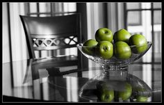 Green apples selective color