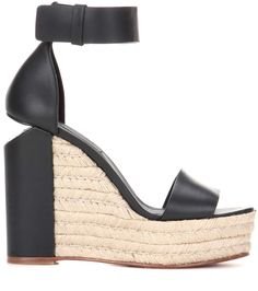Aurora black leather wedges