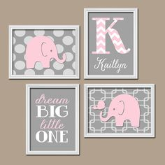 Elephant Pink Gray Wall Art Nursery Canvas Artwork Child Custom Monogram Name Chevron Letter Bird