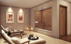 Perspectiva ilustrada do Descanso com sauna, para renovar a mente e repousar o corpo. Saunas, Solar, Mirror, Furniture, Home Decor, Bed Rest, Sao Paulo, Environment, Arquitetura