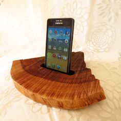 natural oak Wood Docking Station For a Smart Phone unique Eco-friendly including linked datacharging usb cable