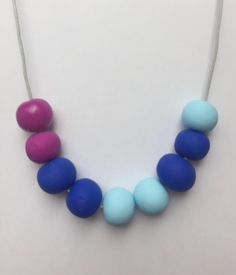 Pink, royal blue & turquoise clay necklace, polymer clay jewellery, clay beads, statement necklace