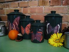 Butterfly Kitchen Canisters Green Butterfly Kitchen Canister Set Kitchen Decor