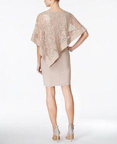 R & M Richards Sequined Cape Sheath Dress   macys.com