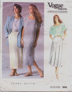 Vintage 80s Vogue American Designer Pattern 1858 by CloesCloset, $11.00