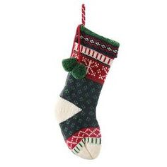 "20"" Navy/Red/Green Knit Fair Isle Christmas Stocking - Wondershop™"
