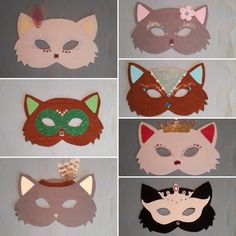 Be aware of #masked #cats! Made one extra to avoid the fight between 3 girls.. right. Black one is mine. #bestauntieever #diy #crafting #catmasks #masks #itteteinjasäästin #askartelu #kissanaamari #vappunaamari