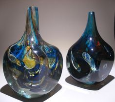 Mdina glass sculptural bottle or block vase. Signed 'Mdina' and dated 1976 and 1977.