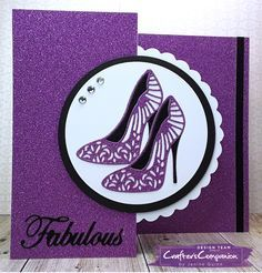 Flip card made using Sara Signature Glamour Collection. Designed by Janine Quinn #crafterscompanion