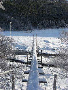 a snowy rope bridge by paul c thomson, via Flickr