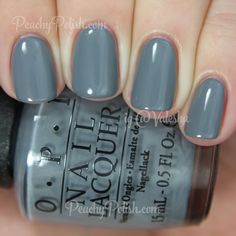 "OPI Embrace The Gray | Fifty Shades of Grey Collection | Peachy Polish ""Embrace The Gray"" is a chic slate gray creme. Another stunning gray shade and again, perfect formula. 2 coats."