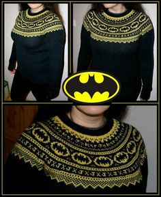 Inspiration picture - Batman Fair Isle Sweater - Lizzy Knits - Day by day!: Batman got a DD! Knitting Blogs, Knitting Projects, Crochet Projects, Knitting Patterns, Crochet Patterns, Vogue Knitting, Knitting Tutorials, Knitting Designs, Free Knitting