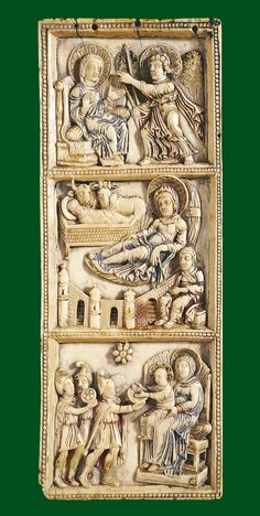 Carolingian ivory with annunciation, nativity & adoration [ca. 800] Probably from Aachen, Germany London British Museum  This fine panel embodies the artistic trends of the early Carolingian Renaissance. The composition of the scenes copies ivory carvings of Late Antiquity, like the sixth-century ivory panel depicting the Adoration of the Magi, also in the British Museum. In spirit and treatment, however, the scenes are quite different from Early Christian and Byzantine art. The carving is…