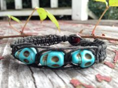 Blue Skull Beads Black Organic Hemp BraceletThree by TheSunLab, $6.00