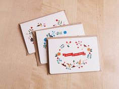 Floral Greeting Collection (set of 3 cards) by Furze Chan (etsy)