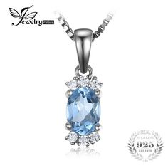 Classic 1.05ct Oval Natural Sky Blue Topaz Pendants For Women Fine Jewelry Does Not Include A Chain