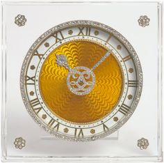A Rare Art Deco Rock Crystal, Enamel and Diamond Set Strut Desk Timepiece, signed Cartier, circa 1925