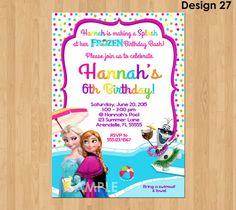 Frozen Summer Invitation Frozen Pool Party by KidsPartyPrintables