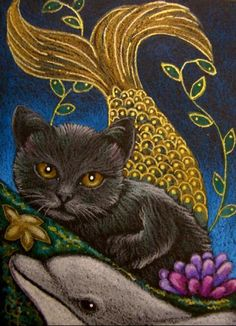 cat mermaid | Art: BLACK MERMAID CAT - MERCAT - DOLPHIN by Artist Cyra R. Cancel