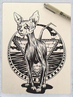 Black book ! #illustration #sketch #drawing #cat #sphynx #ink