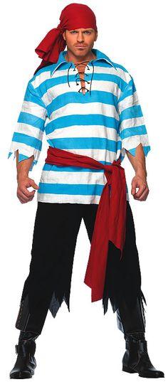 Leg Avenue Men's Pillaging Pirate Costume, Blue/White, Medium/Large: Includes striped linen shirt, tattered pants, waist sash and head scarf Costume Halloween, Smee Costume, Adult Pirate Costume, Pirate Halloween, Adult Costumes, Pirate Costumes, Men's Costumes, Pirate Outfits, Toga Costume