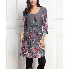 Reborn Collection Charcoal Paisley Empire-Waist Tunic ($30) ❤ liked on Polyvore featuring plus size women's fashion, plus size clothing, plus size tops, plus size tunics, plus size, plus size long tunics, plus size white tunic, womens plus tops and empire waist tunic