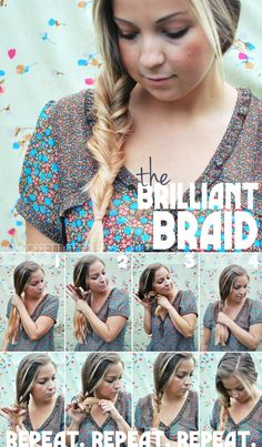 The Brilliant Braid looks like a really intricate fishtail braid but, it isn't even a braid at all!   PULL your hair together to one side. Grab the bottom of your hair and pull through the hole. You will repeat this step over and over until you reach the bottom of your hair.  Separate the hair above your hands and put your fore finger and thumb through the hole.
