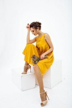 567e94a267 Mustard yellow summer dress