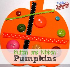 Toddler Approved!: Button and Ribbon Pumpkins