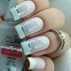Wedding Nails Round Make Up 62 Ideas Beautiful Nail Polish, Pretty Nail Art, Bridal Nails, Wedding Nails, Manicure And Pedicure, Gel Nails, Nail Deco, Nails Decoradas, Stylish Nails