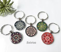 Home Made Simple, Handmade Keychains, Mandala Dots, Metallic Paint, Unique Gifts, Gifts For Her, Hand Painted, Silver, Craft Ideas