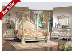 Caledonian Victorian Inspired Canopy Bedroom Set in Antique White|Free Shipping|ShopFactoryDirect.com