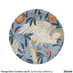 Vintage Retro Cockatoo and Pomegranate Pattern Paper Plate