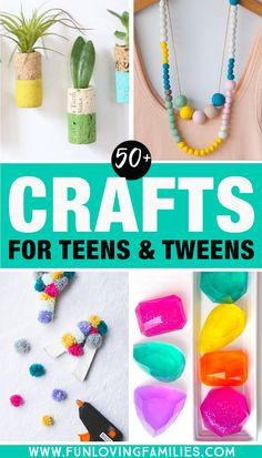 Ultimate roundup of tween and teen craft ideas Something for everyone duct tape crafts squishies pom poms jewelry paracords and so much Teen Diy, Diy For Girls, Diy For Teens, Craft Ideas For Girls, Hobbies For Girls, Tween Girls, Diy Crafts For Tweens, Diy Crafts For Kids, Diy Jewelry For Tweens
