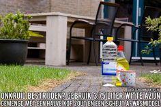 Bestrijd onkruid met een mengsel van 3,75 liter witte azijn, een halve kop zout en een scheut afwasmiddel. Meer tips vind je op www.goedeschoonmaaktips.nl