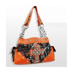 Orange Rhinestone Cross Camouflage Western Purse ❤ liked on Polyvore