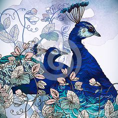Floral Background With Peacock -  Image: 37938508