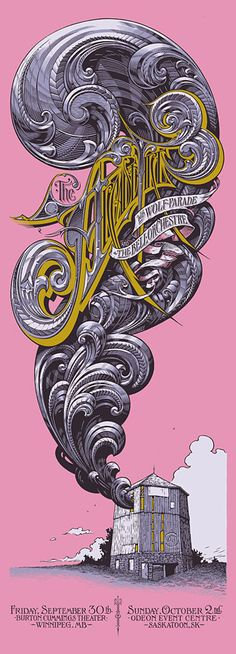 Aaron Horkey.  This dude's posters are the most detailed, insanely crafted type out there. Probably the best artist doing screened posters out there.