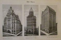 1898 HOHE HÄUSER Hohhäuser USA Original Druck Antique Print Lithographie