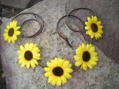 Coachella flower crown halo yellow daisy with brown by triolette, $7.99
