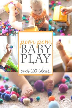 Simple 1 year old activities and games using pom poms ~ I love #2.  It's a great way to get siblings in on the fun, too!