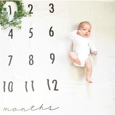 Baby Monthly Milestone Blanket - Cotton Muslin Swaddle Blanket -- 2.5 weeks out