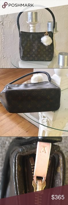 "% Authentic Louis Vuitton looping shoulderbag Authentic Louis Vuitton shoulder bag. Looks like new! Leather strap is professionally dyed and sealed with weather protective. The zipper pull is slightly tarnished (please look at picture) the strap is lightly cracking(noticeable if you get close).   Size (Inch)	W9.1"" * H8.3"" * D3.9"" Shoulder Strap : 2.6"" Model No	M51146 Material	Monogram Made in	France Date code	FL0092  Inside :  Open pocket x 1 , Zipper pocket x 1.     Pompom keychain included…"