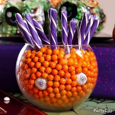 On your Halloween party treats table, a little imagination and a couple of ping pong eyeballs go a long way!  #partycity #halloween